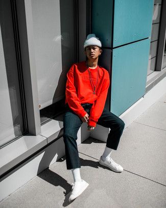 White Beanie Outfits For Men: This combination of a red long sleeve t-shirt and a white beanie is super easy to copy and so comfortable to sport as well! Avoid looking too casual by finishing off with white canvas low top sneakers.