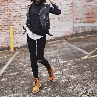 Women's Black Long Sleeve T-shirt, White Crew-neck T-shirt, Black Ripped Skinny Jeans, Tan Leather Lace-up Flat Boots