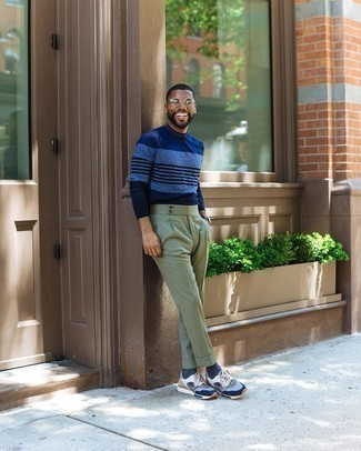 Athletic Shoes with Dress Pants Outfits For Men: This combination of a navy horizontal striped long sleeve t-shirt and dress pants couldn't possibly come across other than outrageously dapper and casually neat. Wondering how to finish? Introduce athletic shoes to the mix for a more laid-back aesthetic.
