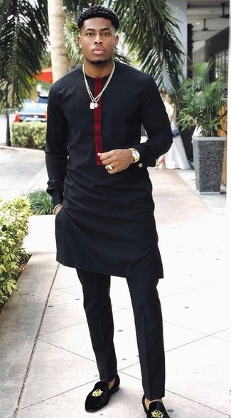 How to wear: black long sleeve t-shirt, black dress pants, black embroidered suede loafers, gold watch