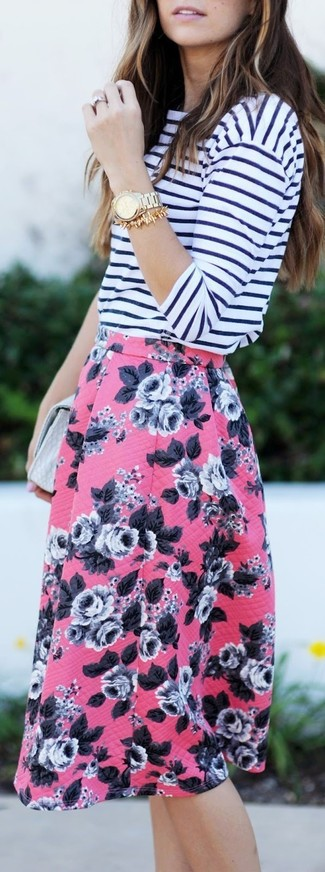 Women's White and Navy Horizontal Striped Long Sleeve T-shirt, Pink Floral Full Skirt, Grey Leather Clutch, Gold Watch