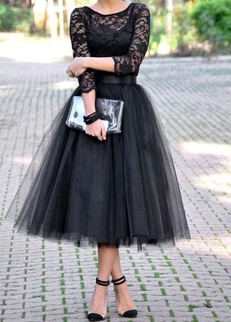 Women's Black Lace Long Sleeve T-shirt, Black Tulle Full Skirt ...
