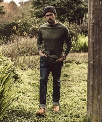 How to Wear a Beanie For Men: This off-duty pairing of an olive long sleeve t-shirt and a beanie is a never-failing option when you need to look dapper in a flash. Let your outfit coordination prowess really shine by rounding off your getup with a pair of tan leather chelsea boots.