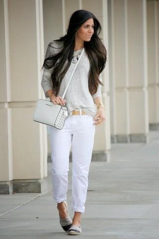 b202ad2cb403 Women s Grey Long Sleeve T-shirt, White Jeans, Grey Slip-on Sneakers, White  Leather Crossbody Bag   Women s Fashion   Lookastic.com