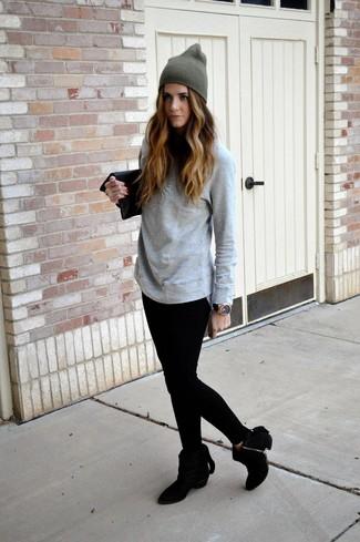 2330f190 ... Women's Grey Long Sleeve T-shirt, Black Leggings, Black Suede Ankle  Boots,