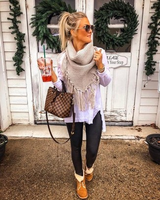 How to wear: white long sleeve t-shirt, black leather leggings, brown uggs, brown check leather tote bag