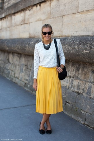 How to wear: white lace long sleeve t-shirt, yellow pleated midi skirt, black suede tassel loafers, black suede crossbody bag