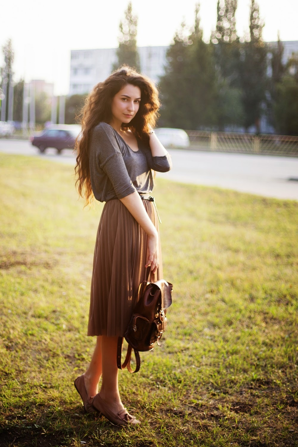 Women's Charcoal Long Sleeve T-shirt, Brown Pleated Midi Skirt ...