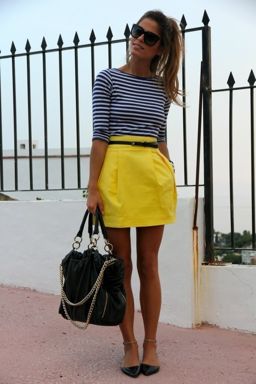 How to Wear a Yellow Mini Skirt (20 looks) | Women's Fashion