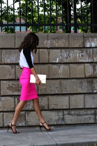 How to Wear a Pink Pencil Skirt: Teaming a white and black long sleeve t-shirt with a pink pencil skirt is a smart choice for a casually cool getup. Introduce black leather heeled sandals to this outfit and the whole ensemble will come together perfectly.