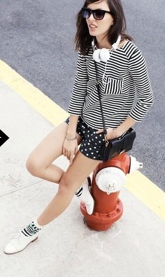 Women's White and Black Horizontal Striped Long Sleeve T-shirt, Black and White Polka Dot Shorts, White Leather Oxford Shoes, Black Leather Crossbody Bag