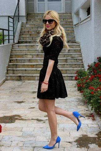How to wear: black lace long sleeve t-shirt, black sequin skater skirt, blue suede pumps, tan leopard scarf