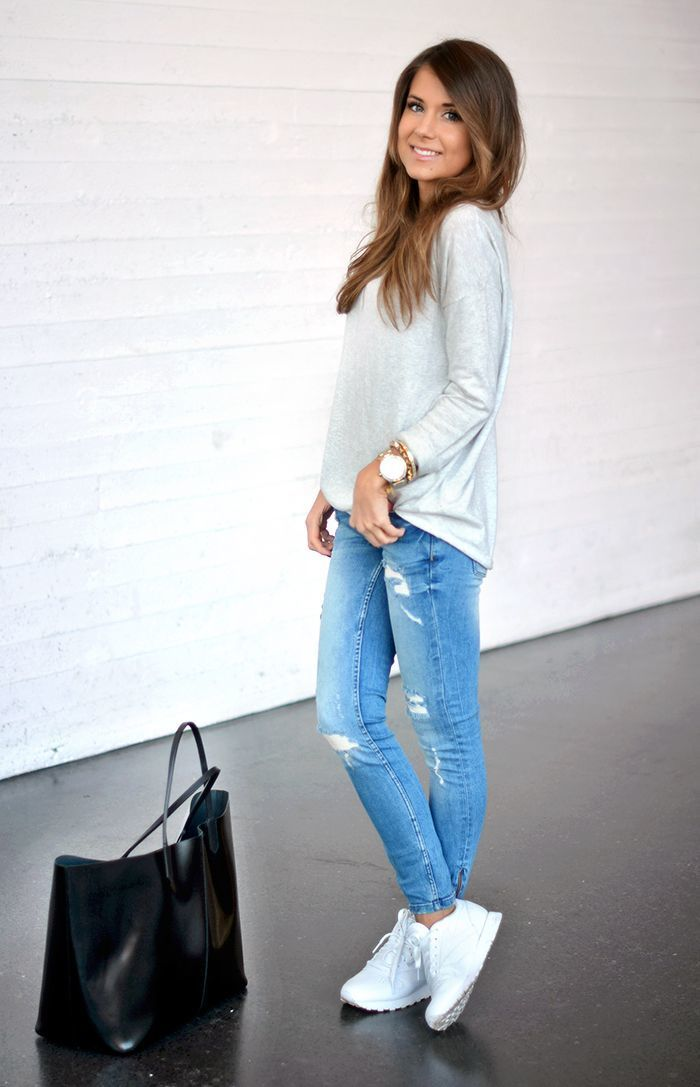 How to Wear Blue Ripped Skinny Jeans (350 looks) | Women's Fashion