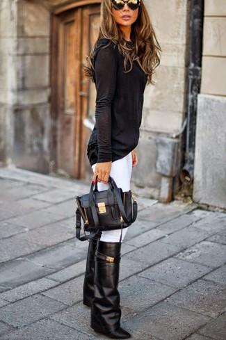 Women's Black Long Sleeve T-shirt, White Skinny Jeans, Black Leather Knee High Boots, Black Leather Satchel Bag