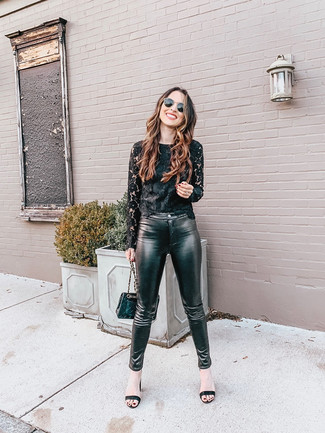 How to wear: black lace long sleeve t-shirt, black leather skinny pants, black leather heeled sandals, black quilted leather crossbody bag