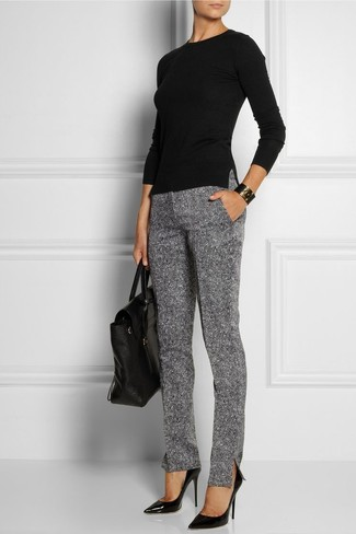 How to wear: black long sleeve t-shirt, grey wool skinny pants, black leather pumps, black leather satchel bag