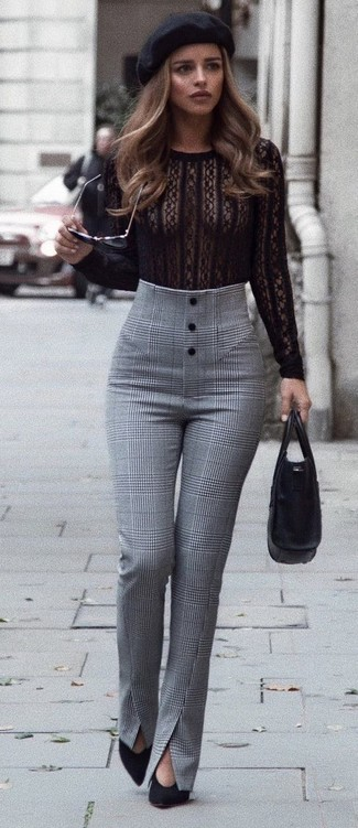 Consider wearing an Amor&Psyche Amor Psyche T Shirts and grey plaid skinny pants for a standout ensemble. A pair of black suede pumps will add some real flair to this look. This ensemble is a pretty great choice, especially for fall, when the temperatures are dropping.