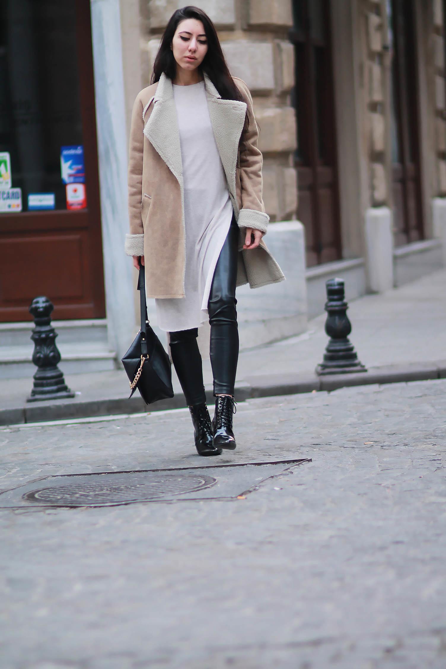 Retournée Clair Marron Manteau Tenue Robe De En Mouton Peau Pull ZfqXwH f01102b1ed9