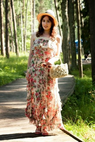 How to wear: beige floral maxi dress, white leather flat sandals, beige straw handbag, beige straw hat