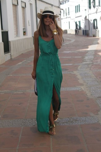 How to wear: green maxi dress, gold leather thong sandals, black and white leather clutch, beige straw hat
