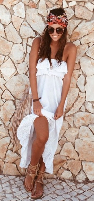 How to wear: white maxi dress, beige leather thong sandals, beige fringe leather crossbody bag, brown sunglasses