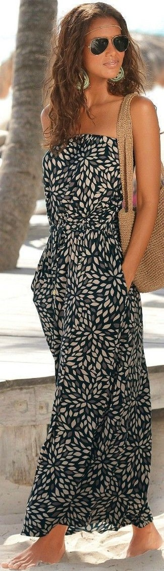 How to wear: black print maxi dress, tan crochet tote bag, gold sunglasses, gold head piece