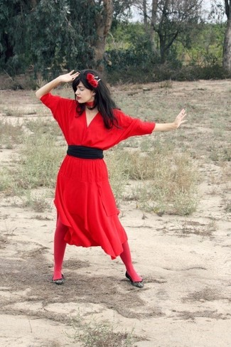 Women's Red Midi Dress, Black Canvas Ballerina Shoes, Black Waist Belt, Red Floral Headband