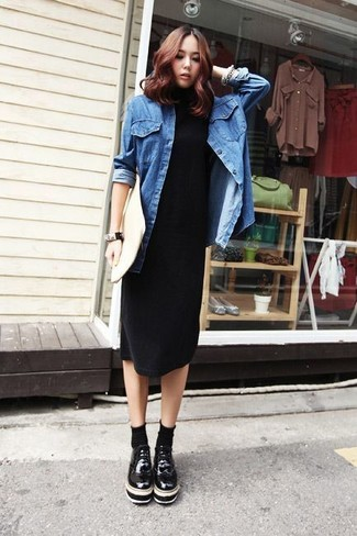 Women's Black Midi Dress, Blue Denim Shirt, Black Chunky Leather Oxford Shoes, White Leather Clutch