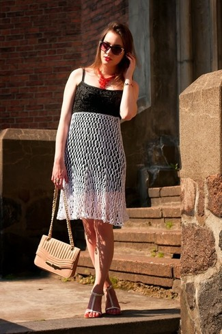 How to wear: black and white crochet midi dress, white leather flat sandals, pink leather crossbody bag, black embellished sunglasses