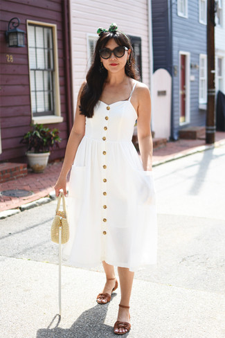How to wear: white midi dress, brown leather flat sandals, beige straw handbag, dark brown sunglasses