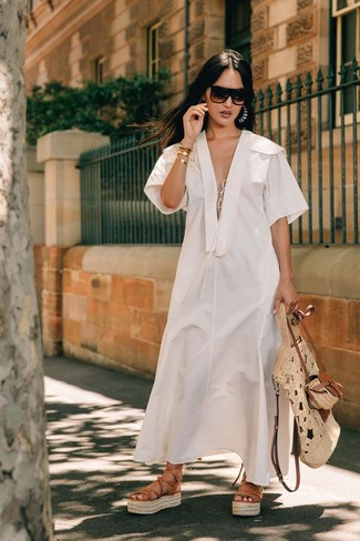 How to wear: white linen midi dress, tan leather gladiator sandals, beige straw tote bag, dark brown sunglasses