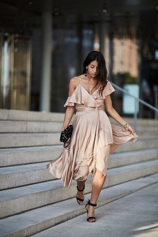 How to wear: beige silk midi dress, black suede heeled sandals, black star print leather crossbody bag, gold watch