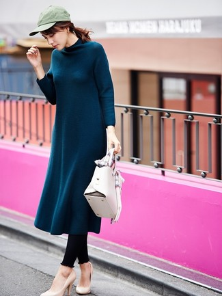 How to wear: teal wool midi dress, black leggings, beige leather pumps, white leather satchel bag