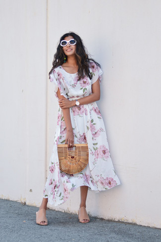How to wear: white floral midi dress, beige leather mules, tan straw clutch, white sunglasses