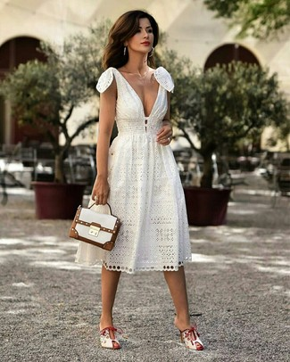 How to wear: white midi dress, white leather mules, white leather satchel bag, gold necklace