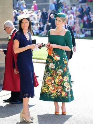 How to wear: dark green embroidered midi dress, orange suede pumps, orange leather clutch, green embellished hat
