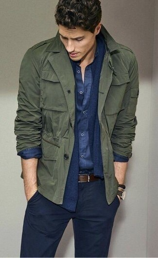 An olive military jacket and navy chinos is a smart combination to add to your styling repertoire. We promise this outfit is the answer to all of your fall dressing struggles.