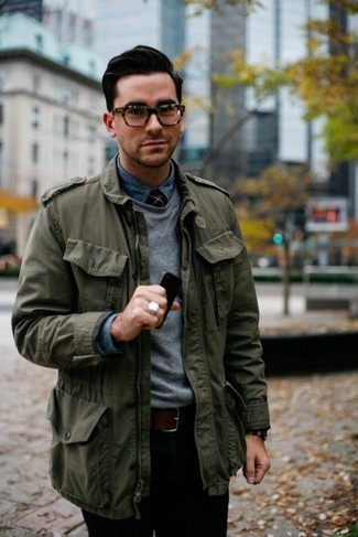 Men's Olive Military Jacket, Grey Crew-neck Sweater, Blue Denim Shirt, Black Chinos