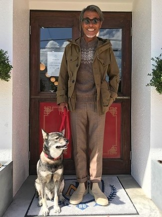 How to wear: olive military jacket, brown fair isle crew-neck sweater, brown wool dress pants, beige suede chelsea boots