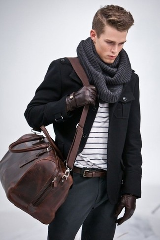Dress in a black military jacket and dark grey casual pants to create a great weekend-ready look.