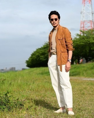 Beige Canvas Belt Outfits For Men: If you're hunting for a relaxed yet stylish look, choose a tobacco military jacket and a beige canvas belt. Introduce a pair of white canvas espadrilles to the equation to instantly spice up the look.