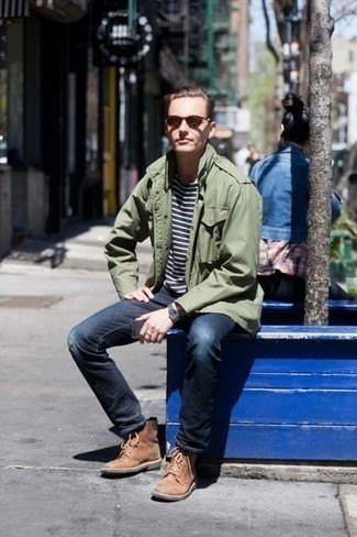 How to Wear an Olive Military Jacket For Men: For an on-trend ensemble without the need to sacrifice on functionality, we turn to this pairing of an olive military jacket and navy jeans. To add a little flair to your outfit, complete this ensemble with a pair of brown leather casual boots.
