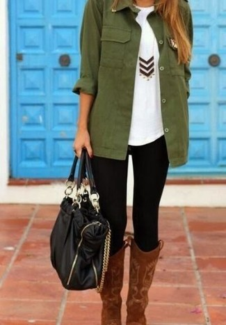 A dark green military jacket and black leggings is a good combo to add to your casual lineup. For footwear go down the classic route with brown suede knee high boots.