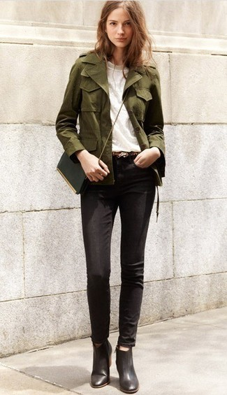 How to wear: olive military jacket, white crew-neck t-shirt, black skinny jeans, black leather ankle boots