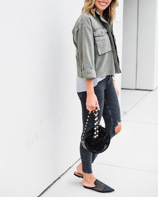 How to wear: olive military jacket, grey crew-neck t-shirt, charcoal ripped skinny jeans, black woven leather loafers