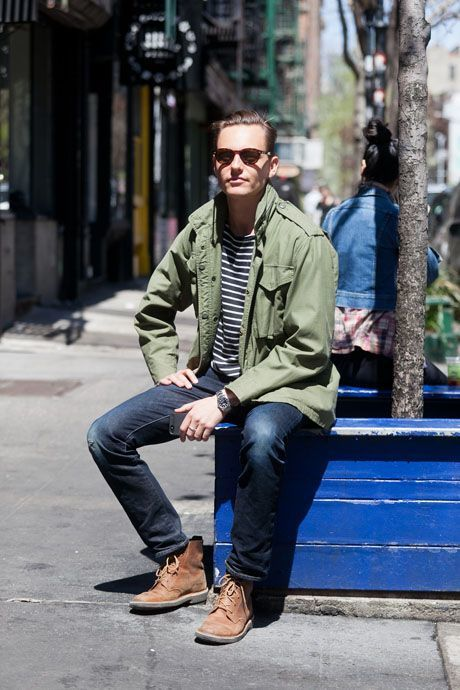 a1daf0c8854e How to wear: olive military jacket, navy and white horizontal striped  crew-neck