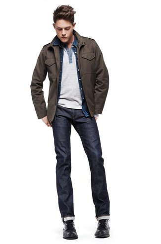 How To Wear Blue Jeans With Black Leather Boots For Men: Rock a dark brown military jacket with blue jeans to put together an interesting and current relaxed casual ensemble. Throw in a pair of black leather boots for an added dose of class.