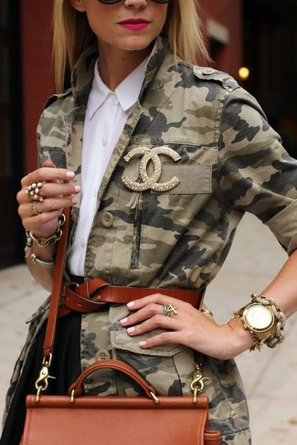 Pair an army green camo military jacket with a black skater skirt for a comfy-casual look.