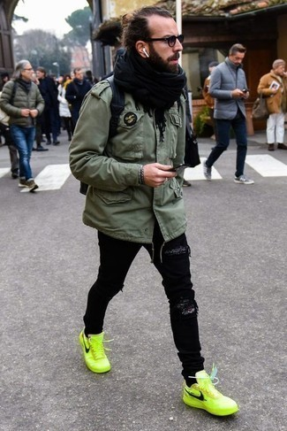 How to Wear Brown Sunglasses In a Relaxed Way For Men: Why not marry an olive military jacket with brown sunglasses? Both pieces are totally practical and will look awesome worn together. Follow a more elegant route with shoes by finishing with green-yellow canvas low top sneakers.