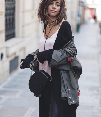 How to wear: charcoal military jacket, black long cardigan, white silk tank, black skinny jeans